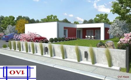 Fertighaus OVI Modulfertigbau in der Erweiterung zum modernen Fertighaus im Bauhausstil.